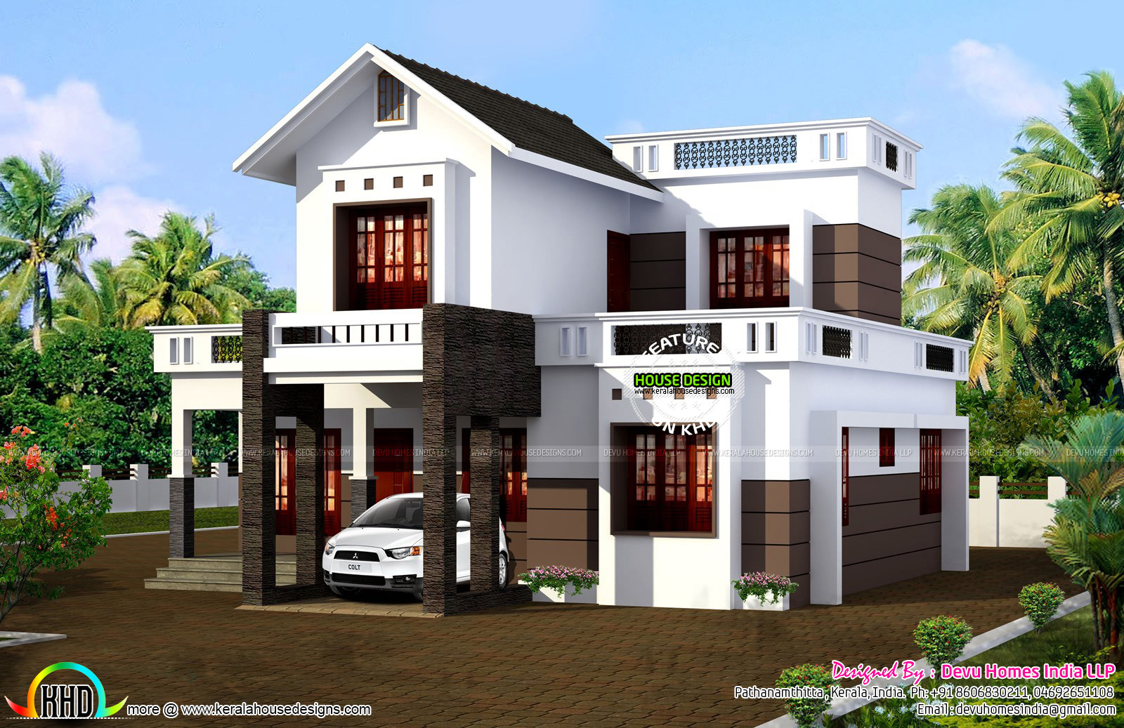 Simple 1524 sq ft house plan kerala home design and for Simple house design