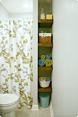 wood shelves in bathroom nook