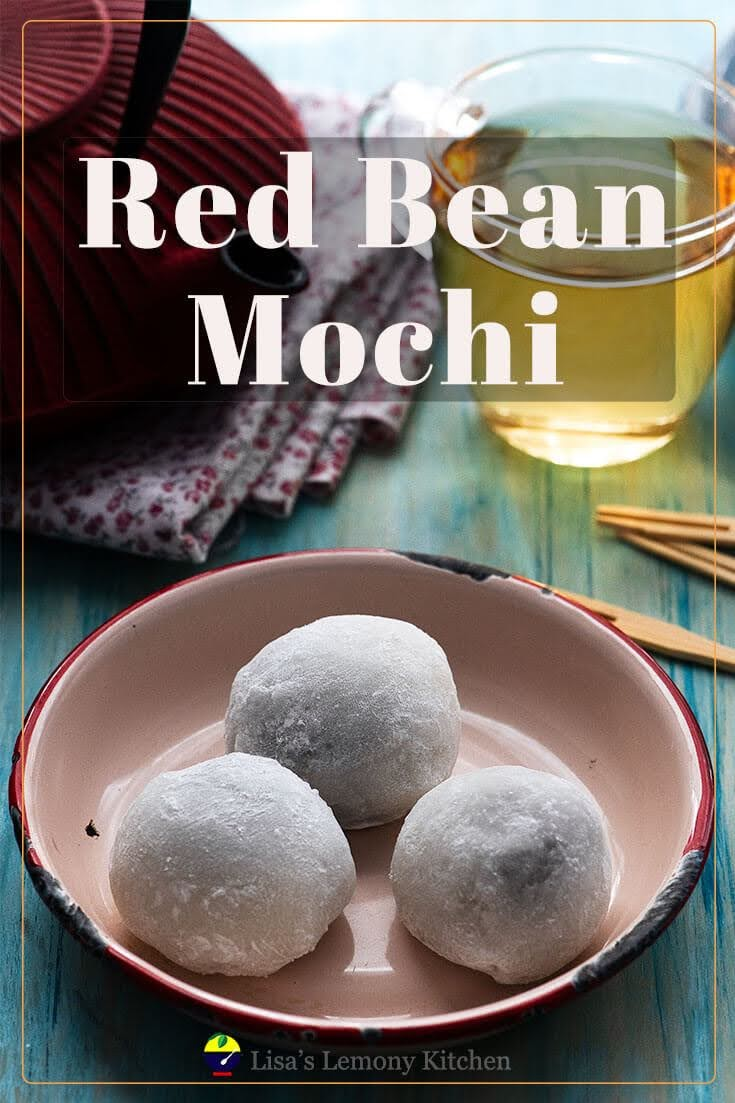 Soft delicate Daifuku mochi (大福餅) is a type of Japanese sweet usually served with green tea.  Small, round and chewy daifuku mochi, made from glutinous rice flour dough, filled with sweet homemade adzuki or red bean paste, but some are filled with white bean paste (Shiroan, 白餡).   Daifuku Mochi makes a delicious Japanese dessert.