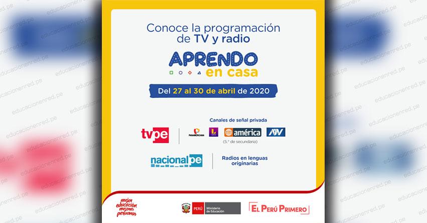 APRENDO EN CASA: Programación de TV y Radio del Lunes 27 al Jueves 30 Abril - www.aprendoencasa.pe