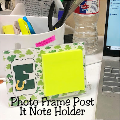Be a little more organized in your house or desk with this DIY Photo frame post it note holder. With a free printable that you can change out for every season and smart design, you'll have your little party notes organized in no time at all.