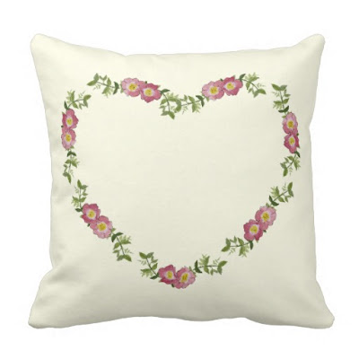 Floral Heart Wreath Throw Pillow