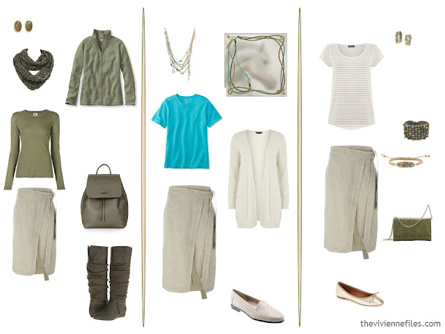 3 ways to wear a beige skirt with olive, turquoise and ivory