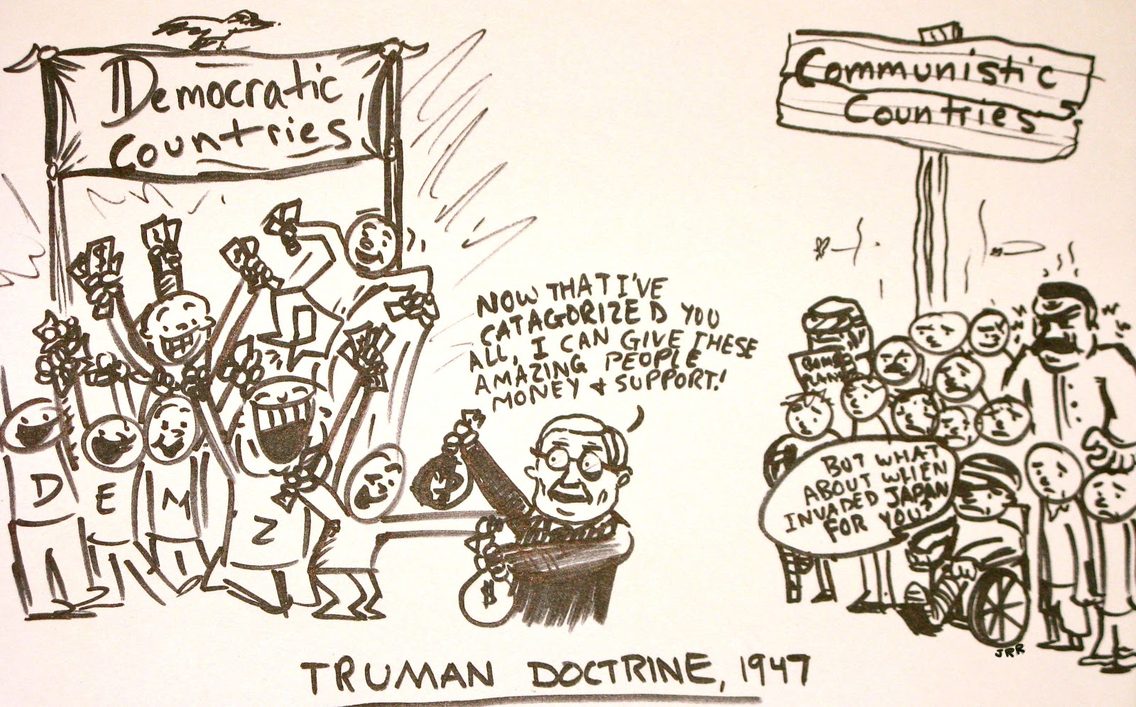 an analysis of the truman doctrine and the marshall plan caused the cold war Response to the cold war including containment, the marshall i—a feat that caused many americans to believe the the marshall plan, the truman doctrine.