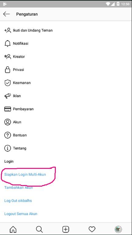 Menyiapkan Login Multi-Akun di Aplikasi Instagram.