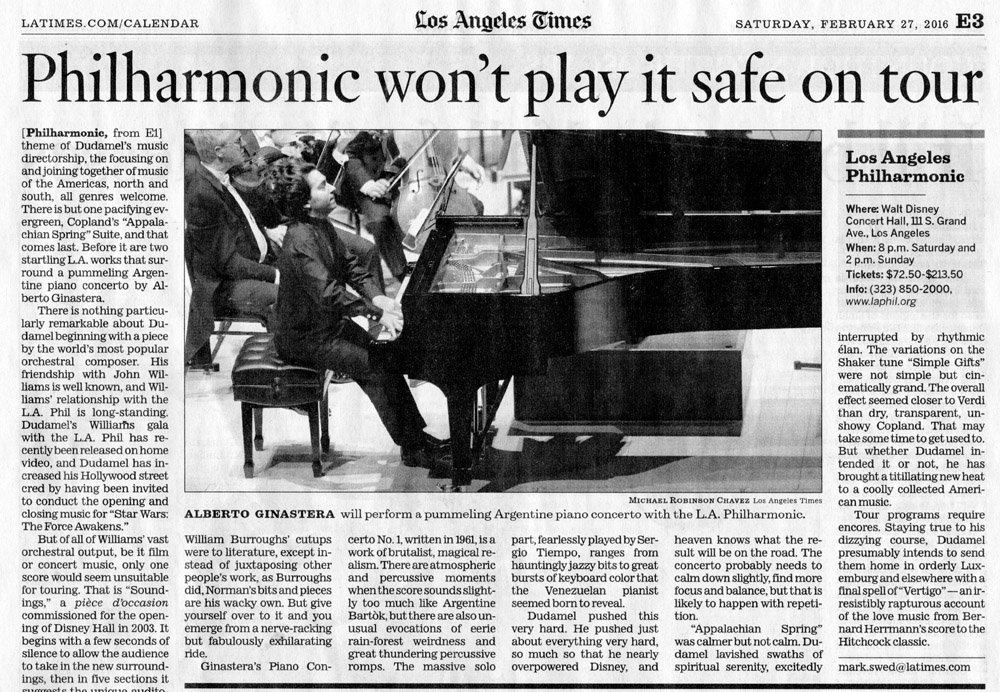 Alberto Ginastera will perform a pummeling Argentine piano concerto with the L.A. Philharmonic.
