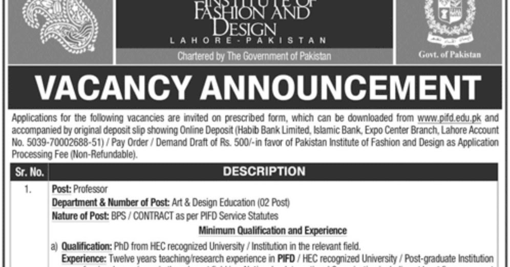 Jobs In Pakistan Institute Of Fashion Design Pifd Jobs24pk Com