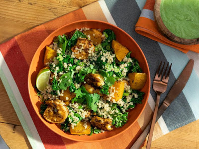Kevin Curry's Shrimp and Squash Grain Bowl with Avocado Dressing | The Kitchen | Food Network