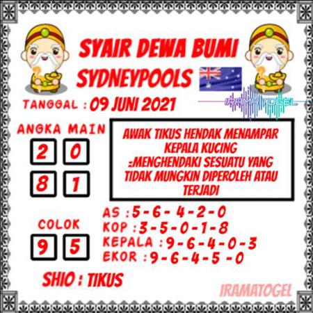 Syair Dewa Bumi Sydney Rabu 09 Juni 2021