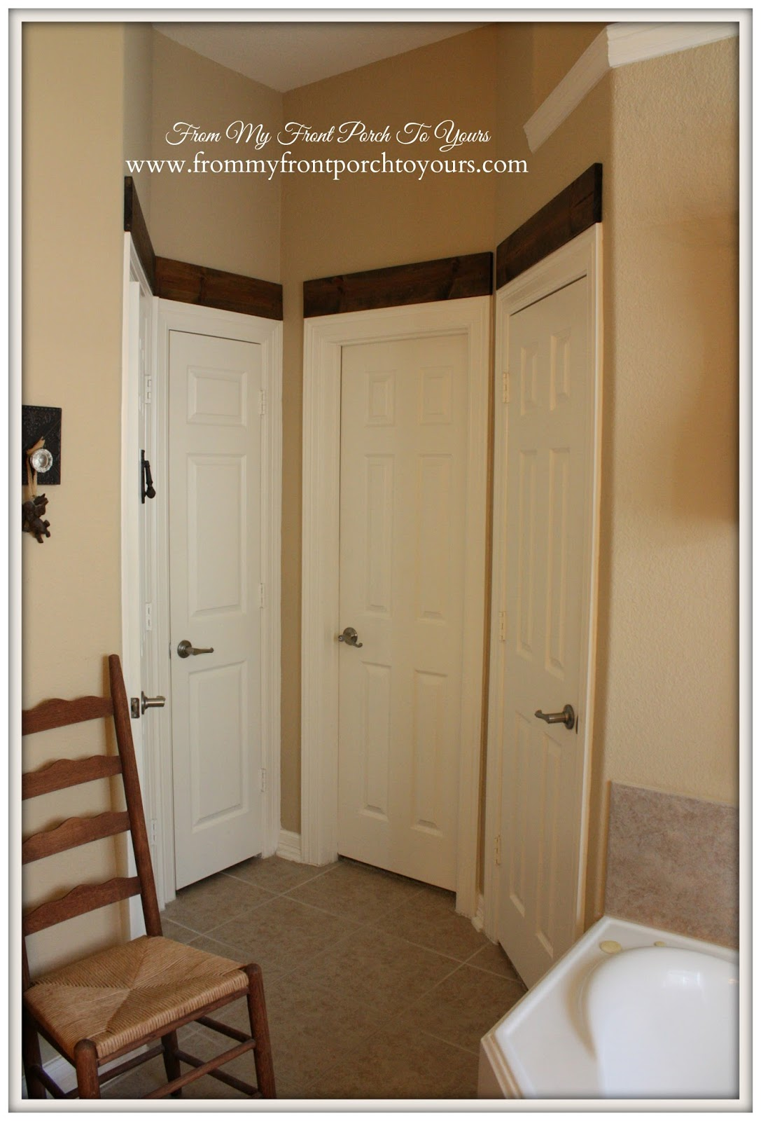Wood Beam Door Toppers-From My Front Porch To Yours- Master Bathroom Before