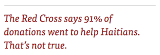 The Red Cross says 91% of donations went to help Haitians. That's not true.