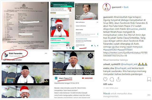 Sebar Foto Ma'ruf Amin Berbaju Sinterklas, Tokoh Agama di Aceh Ditangkap, Dua Lain Begini Nasibnya