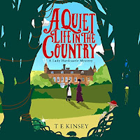 A Quiet Life In The Country audiobook cover. A stylised view of a country house through trees. An elegant woman and a maid stand before it and there are jewels and a rope woven into the trees.