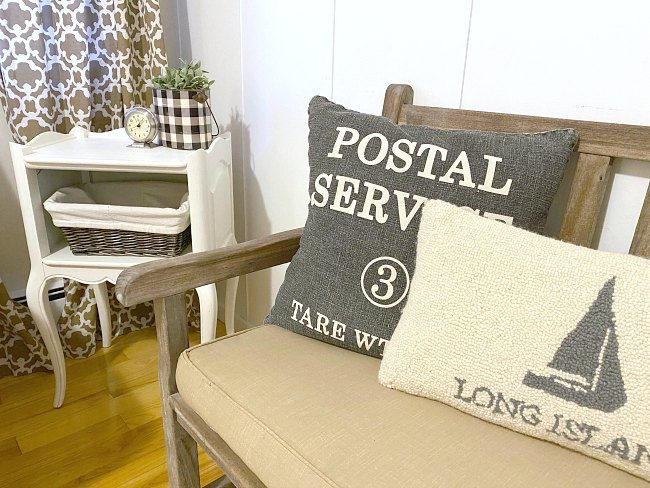Neutral Farmhouse Style End Table with Basket Storage