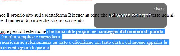 word count estensione di chrome