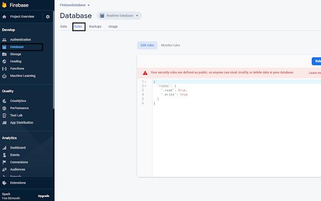 Set up Rules in Firebase Database