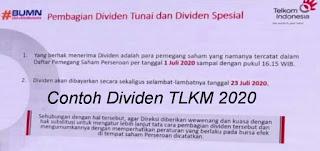 Contoh Dividen TLKM 2020