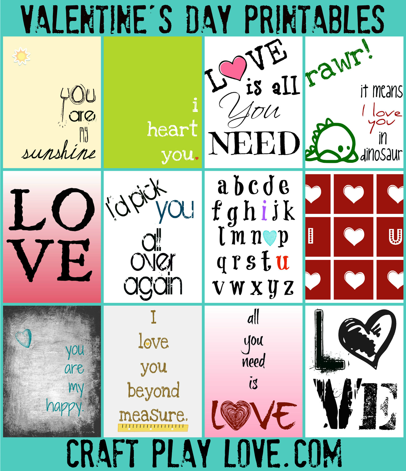 Craft Play Love Valentine S Printables