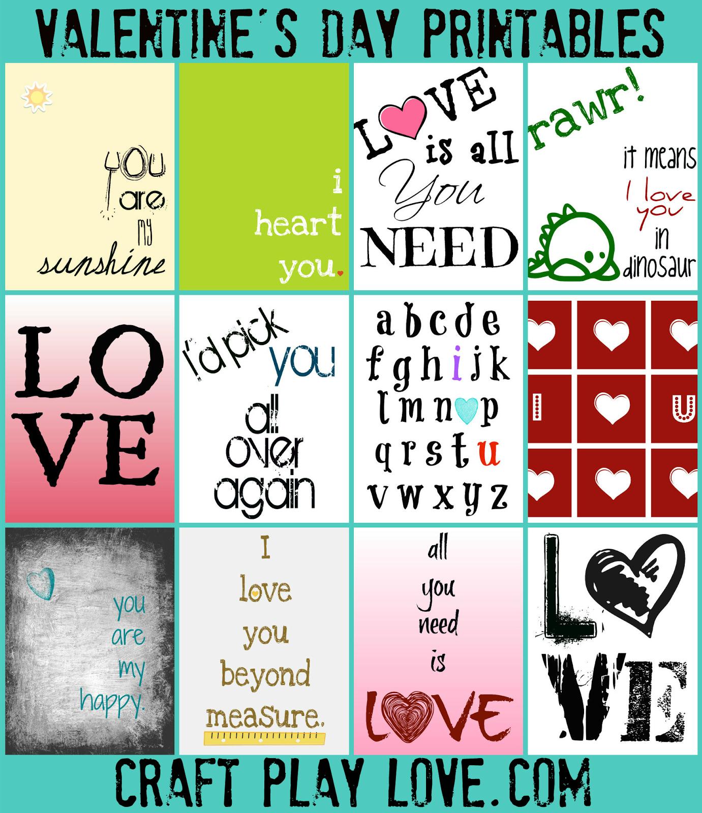 Craft Play Love Valentine S Printables