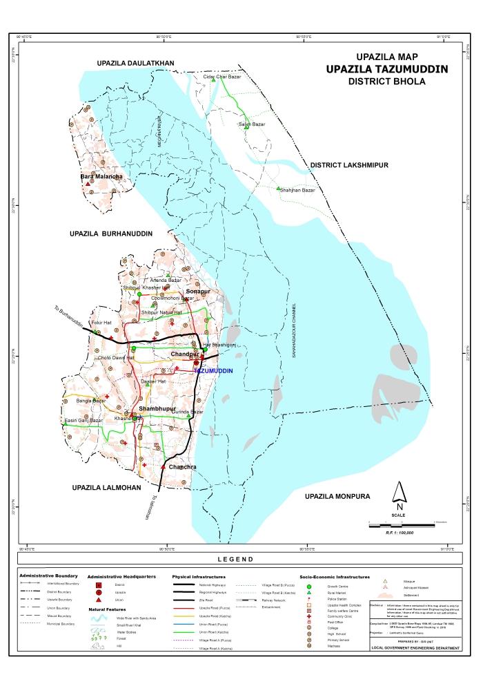 Tazumuddin Upazila Map Bhola District Bangladesh