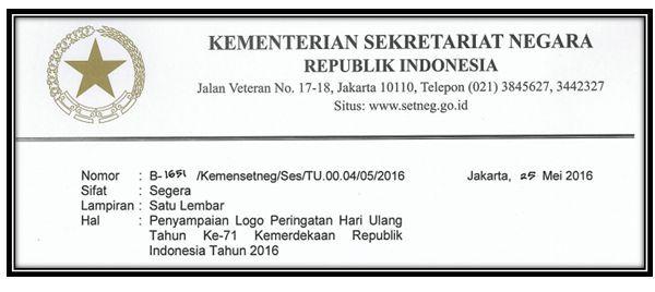 gambar surat setneg edaran penyampaian logo hut ri