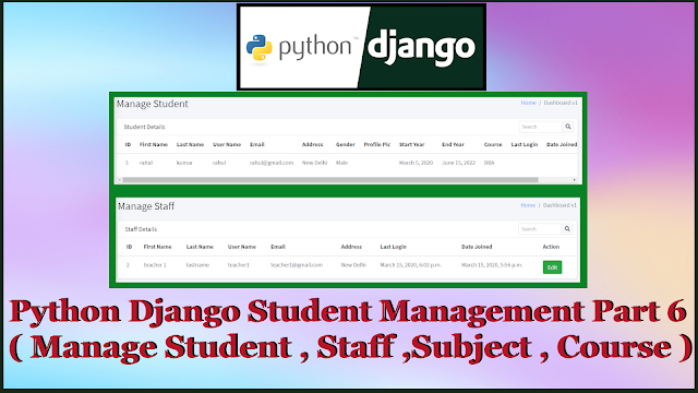 Python Django Student Management System Part 6 | Manage Student,Staff,Subject,Course