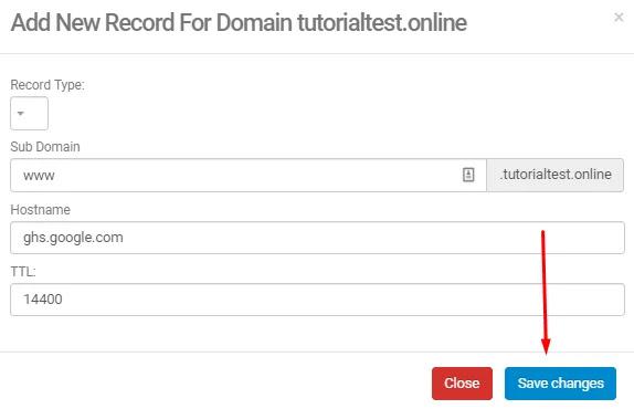 Masukan hostname blogspot pada add new record