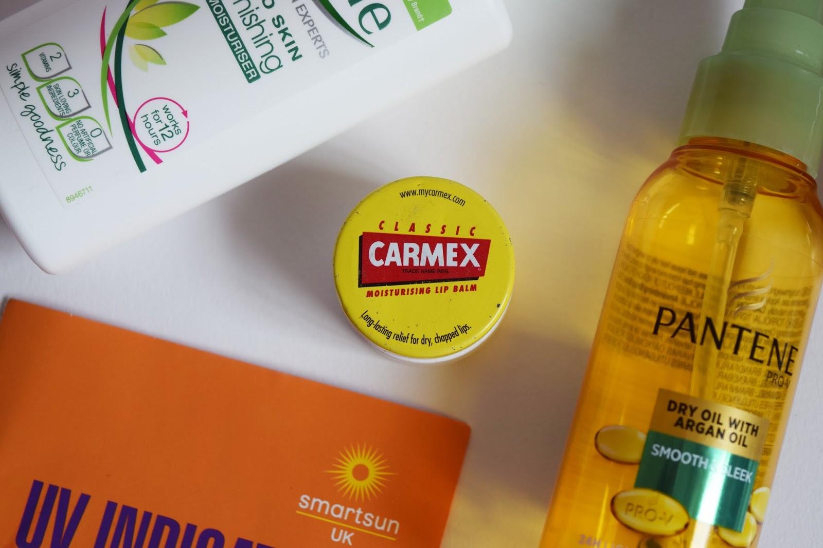 a close up shot of Carmex lip balm