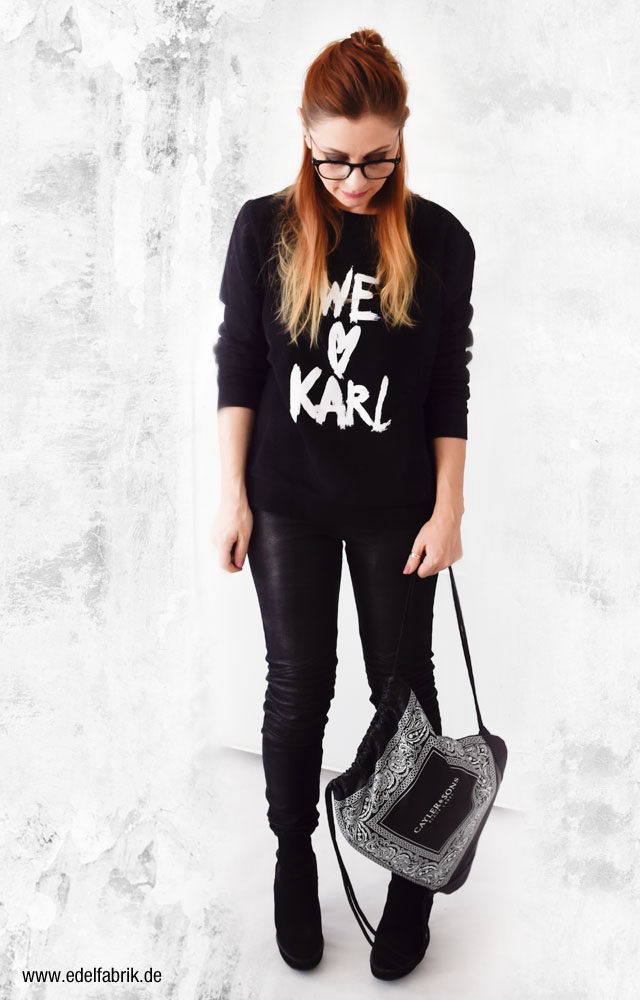 Karl Lagerfeld Sweatshirt, schwarz, Look, Black Allover