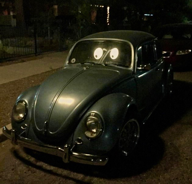 Eyebombing, stick googly eyes on things. Glow in the dark eyes on a VW bug. 17
