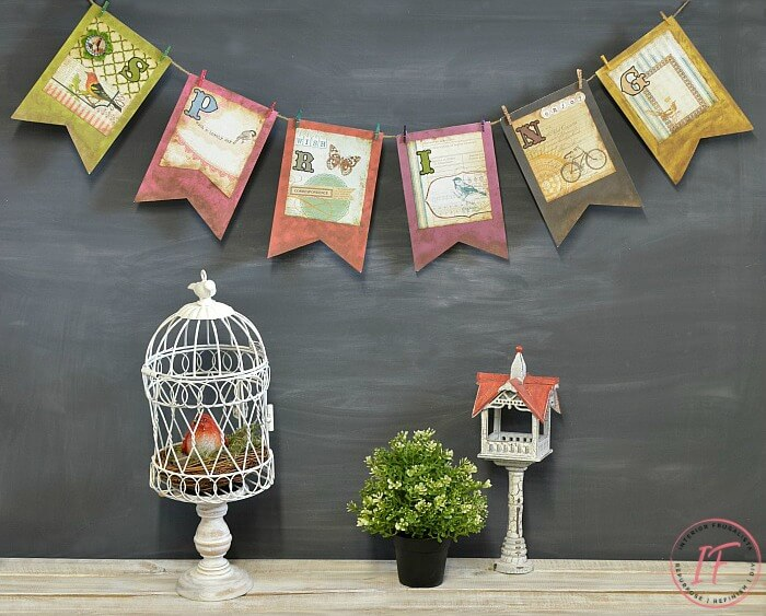 Spring Bunting Banner With Dollar Store Finds