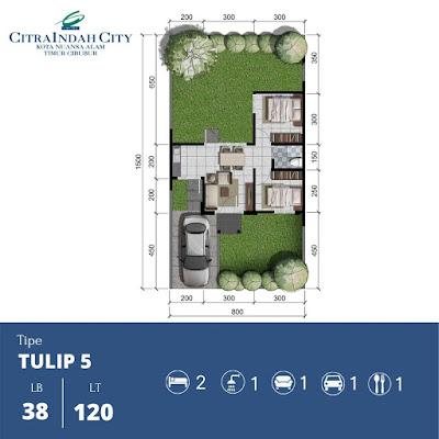 Denah Rumah Tulip 38 120 Citra Indah City