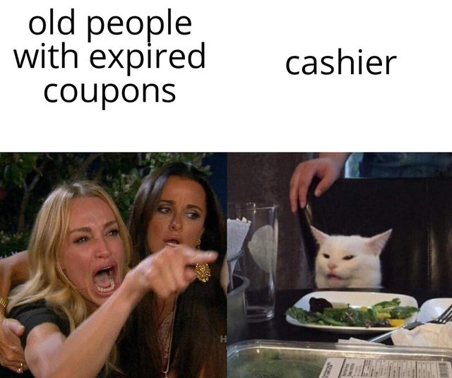 old people with expired coupons cashier Tale