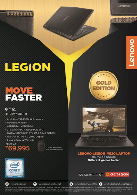 Limited edition gold Lenovo Legion Y520 gaming laptop