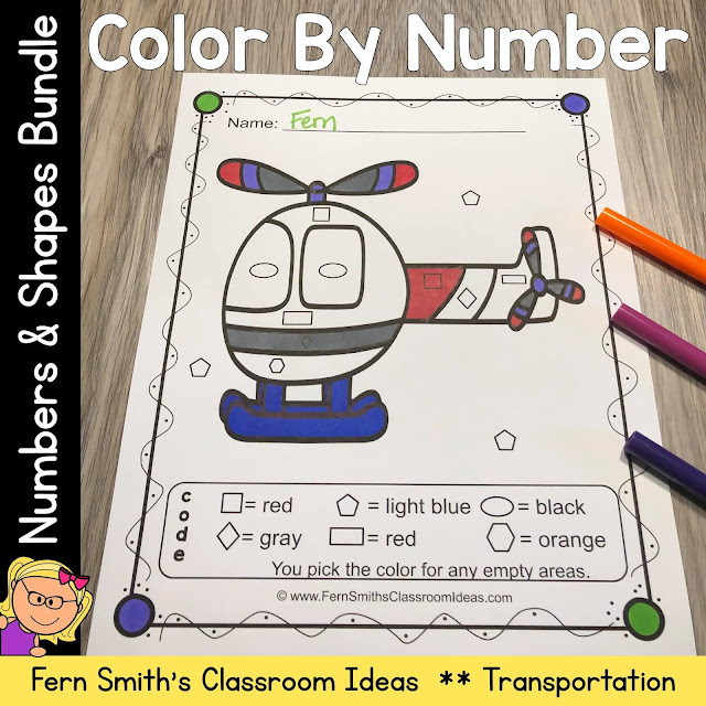 To read more about the larger Know Your Numbers and Shapes Color By Number Bundle, click here!