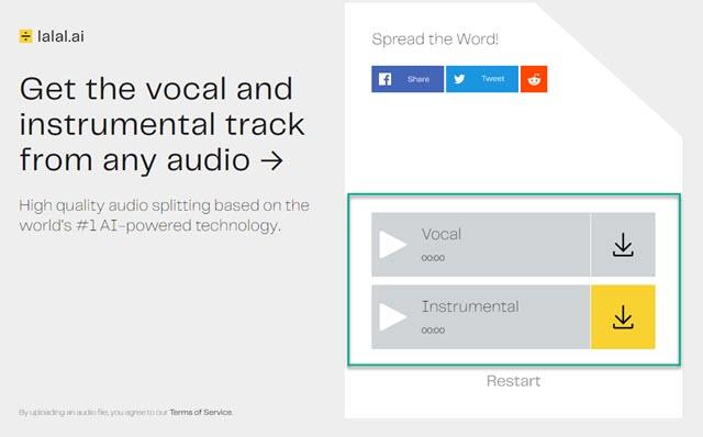 separare taccia vocale e strumentale di canzoni