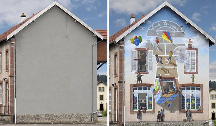 French Artist Transforms Boring City Walls Into Vibrant Scenes Full Of Life - Vive la récré