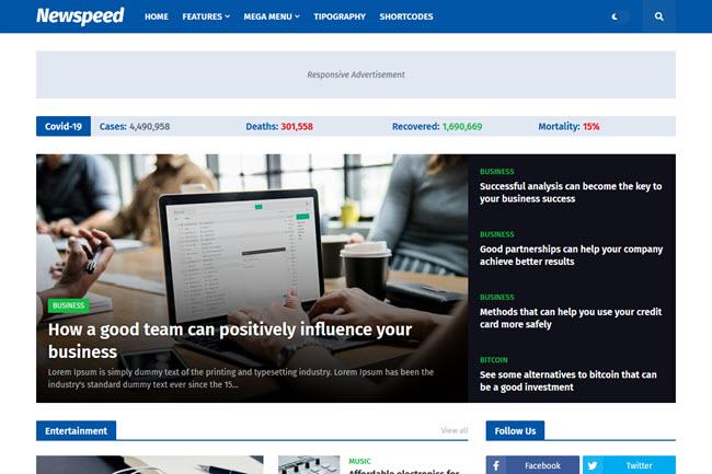 Template Newspeed para Blog de Notícias e Revista   Blogger responsivo