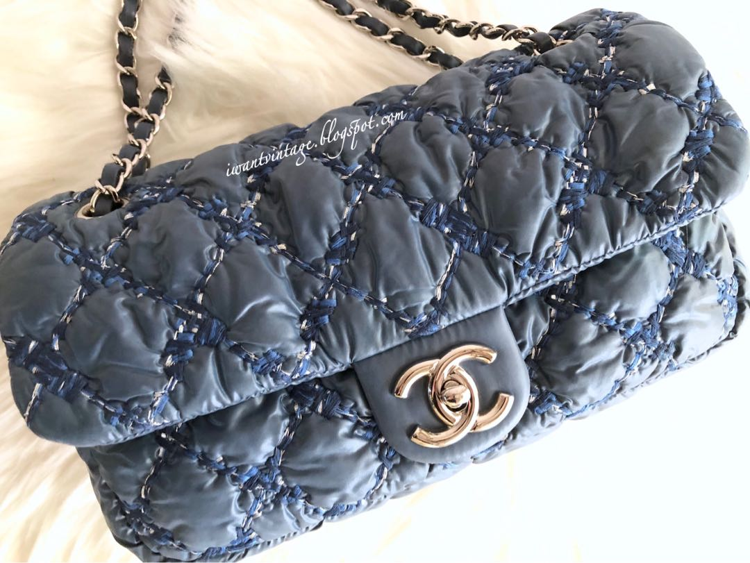 547eb9981f3056 Chanel Quilted Bubble Tweed on Stitch Flap Bag-Blue CC turnlock closure,  interior one zip pocket. Comes with authenticity card & dustbag only.