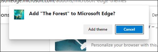 إضافة زر تأكيد السمة في Edge