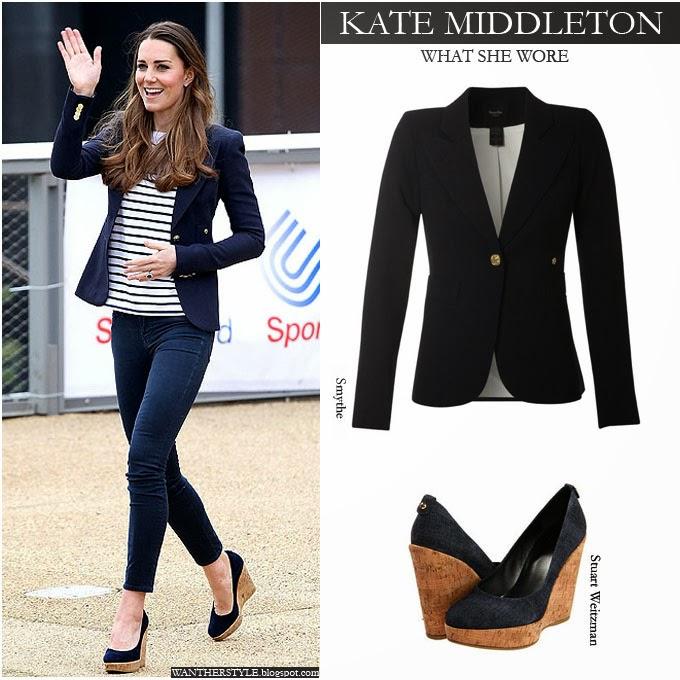 f8ec6ec2a3e WHAT SHE WORE: Kate Middleton in blue one button blazer, stripe top ...