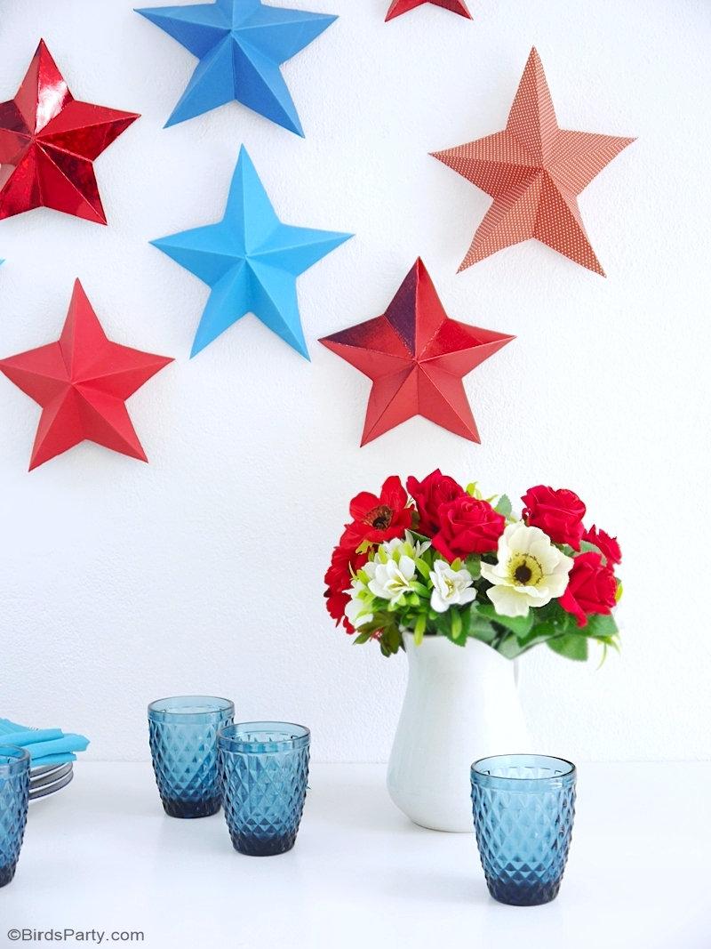 DIY Étoiles Origami 3D en Papier - un projet créatif facile, rapide et peu coûteux à faire pour le décor du 14 Juillet ou fête thème étoiles! by BirdsParty.com @birdsparty #origami #diy #bleublancrouge #14juillet #déco14juillet #fete14juillet #etopilespapier #etoilesorigami #etoiles3d