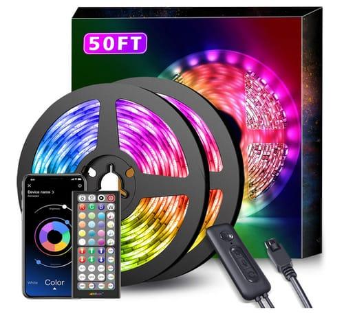 Nexillumi 50Ft LED Strip Lights Color Changing RGB LED