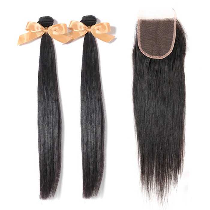 2 Bundles Straight Brazilian Virgin Hair 200g With 4*4 Straight Free Part Lace Closure