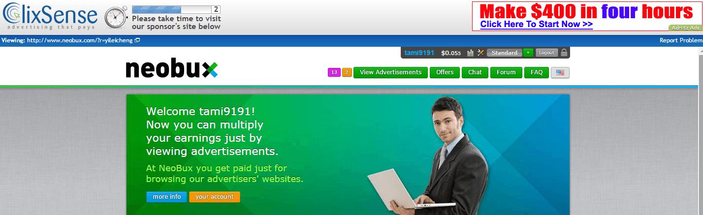 Advertisement page | Clixsense