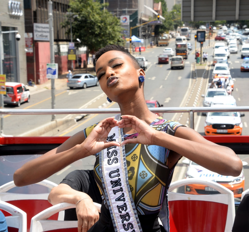 Zozibini Tunzi during the Johannesburg Street Parade for Miss Universe as part of her triumphant homecoming tour on February 13, 2020 in Johannesburg, South Africa. Zozibini Tunzi is a South African model who was crowned Miss Universe 2019. (Photo by Oupa Bopape/Gallo Images via Getty Images)