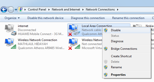 mengatasi no internet access windows 7 wireless