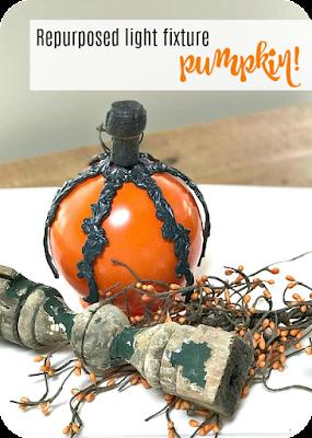 Fall pumpkin made with repurposed lamp parts
