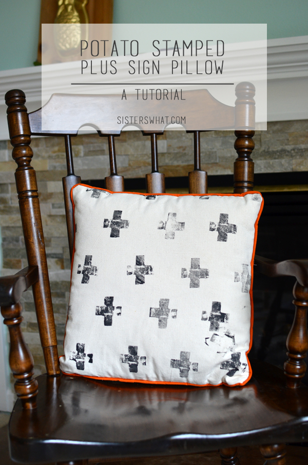 Potato stamped fabric and sewed to turn into a cute pillow