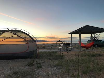Camping in Antelope Island, Utah